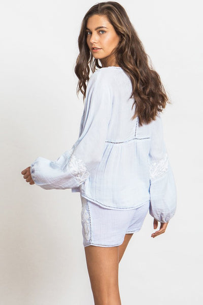 Misa Stela Embroidered Gauze Tunic Top in Powder Blue