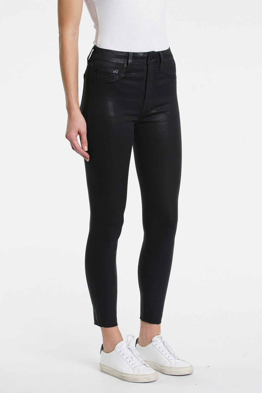 Pistola Aline High Rise Jeans in Coated Black