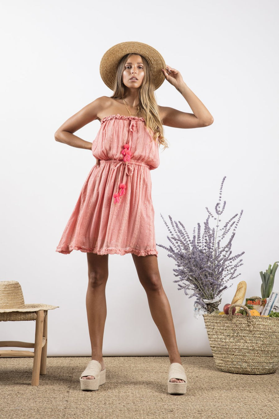 Sundress Anoushaka in Petra French Rose and Neon Coral