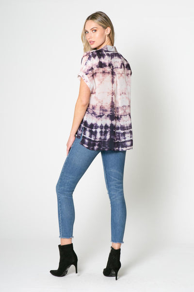 Lavender Brown Tie Dye Short Sleeve Top