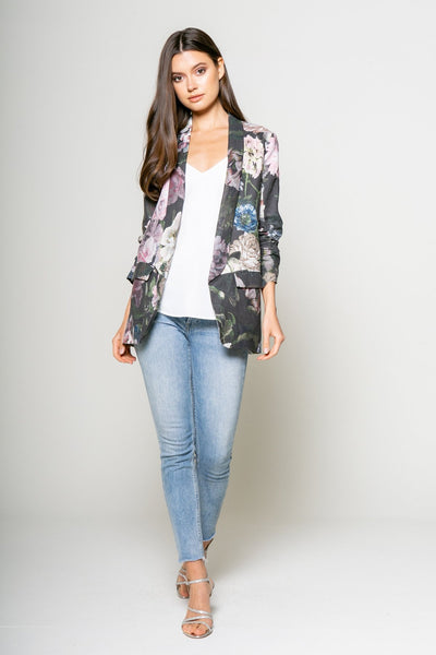 Lavender Brown Floral Linen Jacket