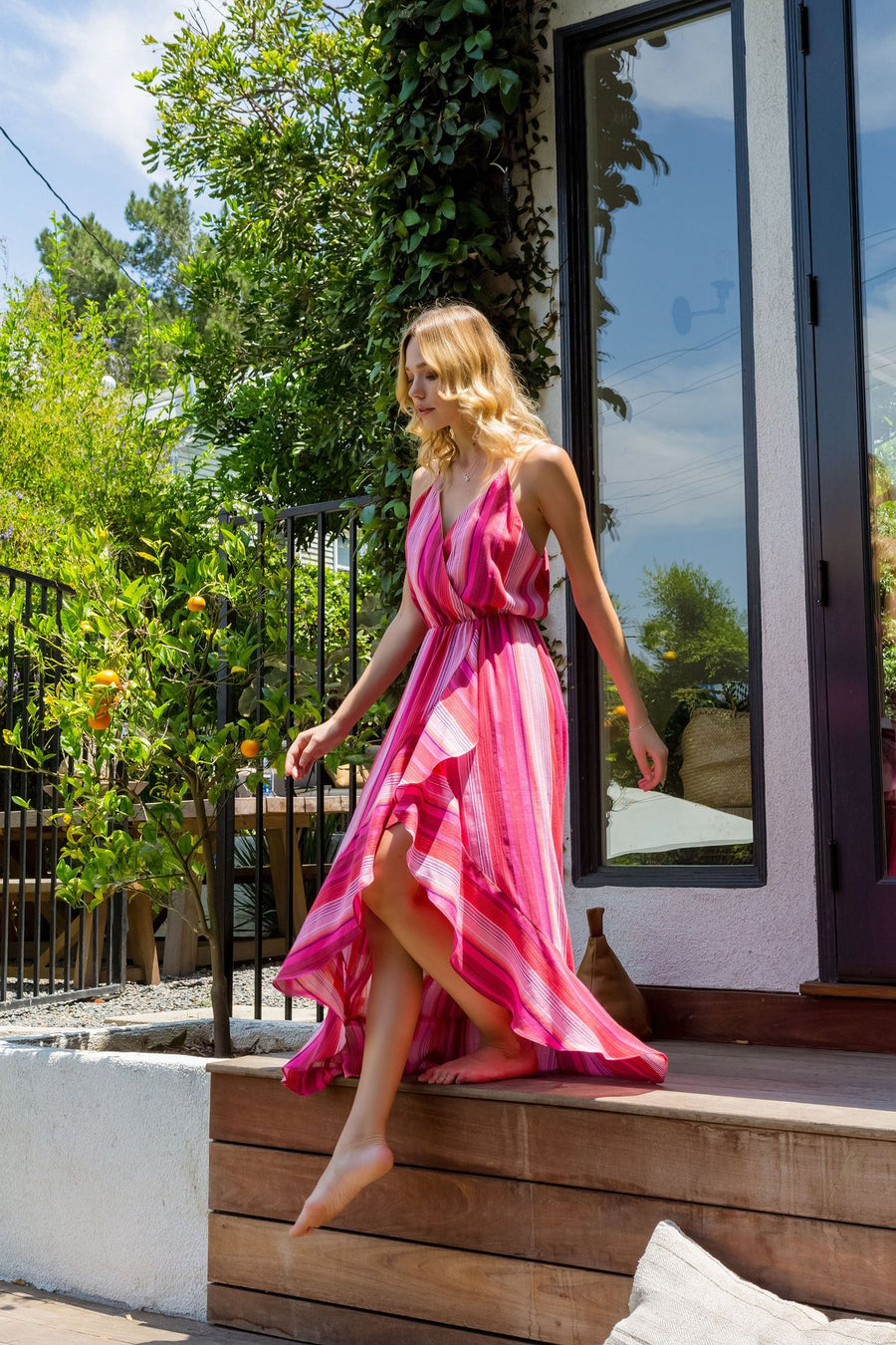 Lavender Brown Pink Dye Maxi Dress
