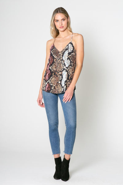 Lavender Brown Snake Print Cami Top