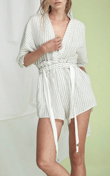 Acler Preston Ivory Striped Romper
