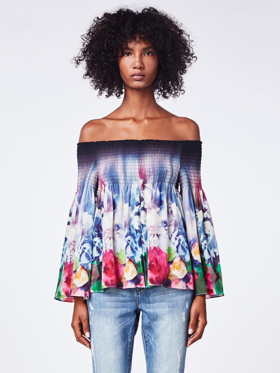 Nicole Miller Faint Flowers off the Shoulder Top