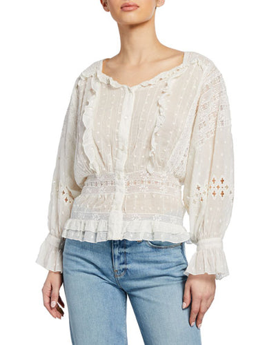 Love Sam Diamond Embroidery Top