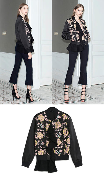N12H Ruffled Lace Bomber In Black