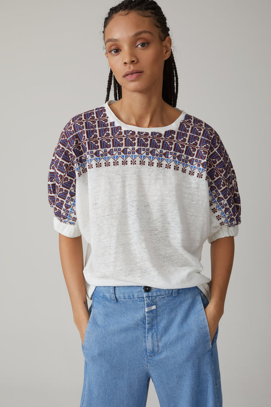 Closed Embroidered Linen Top