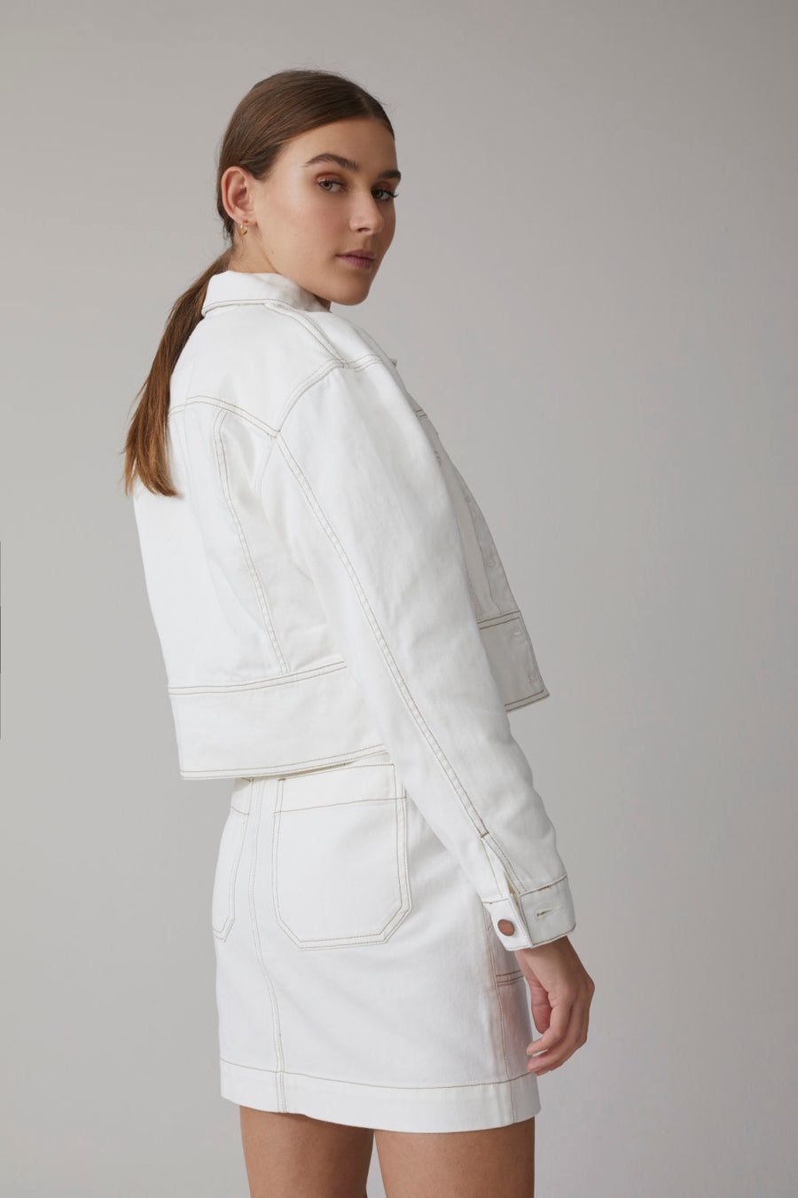 Closed Amaya Twill Jacket in Ivory