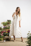 Sundress Carolina Dress in Off White with Gold Sequins