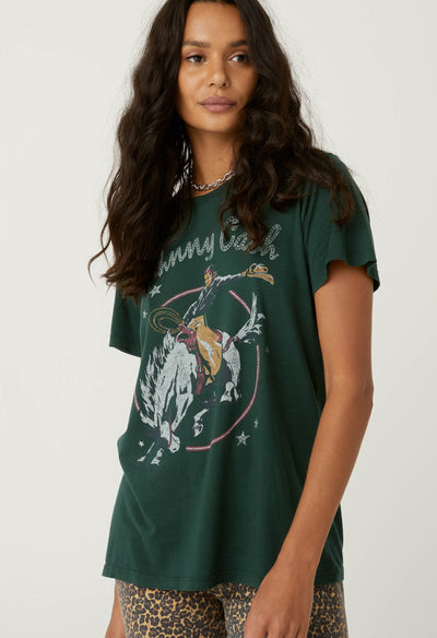 Daydreamer Johnny Cash Rodeo Tee in Emerald