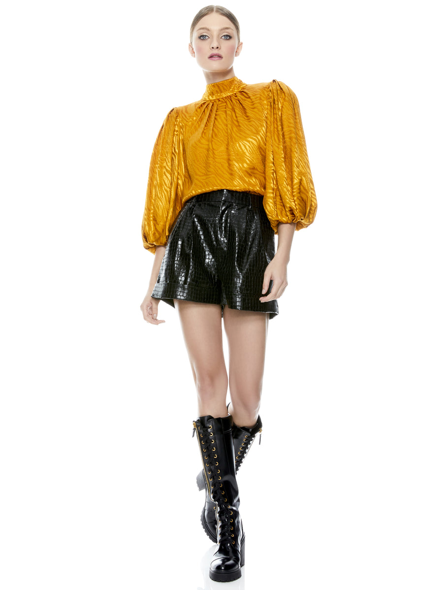 Alice and Olivia Conry Vegan Leather Shorts