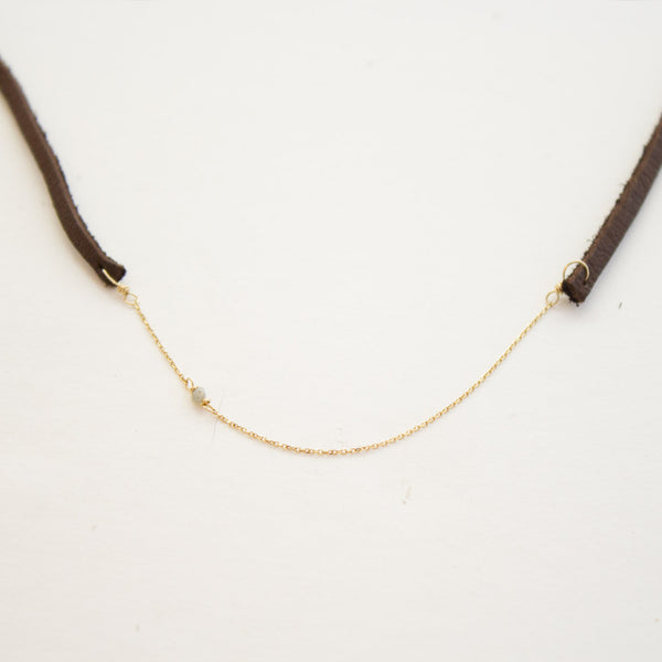 CLP Choker/Wrap with 14k chain and raw diamond - Estilo Boutique