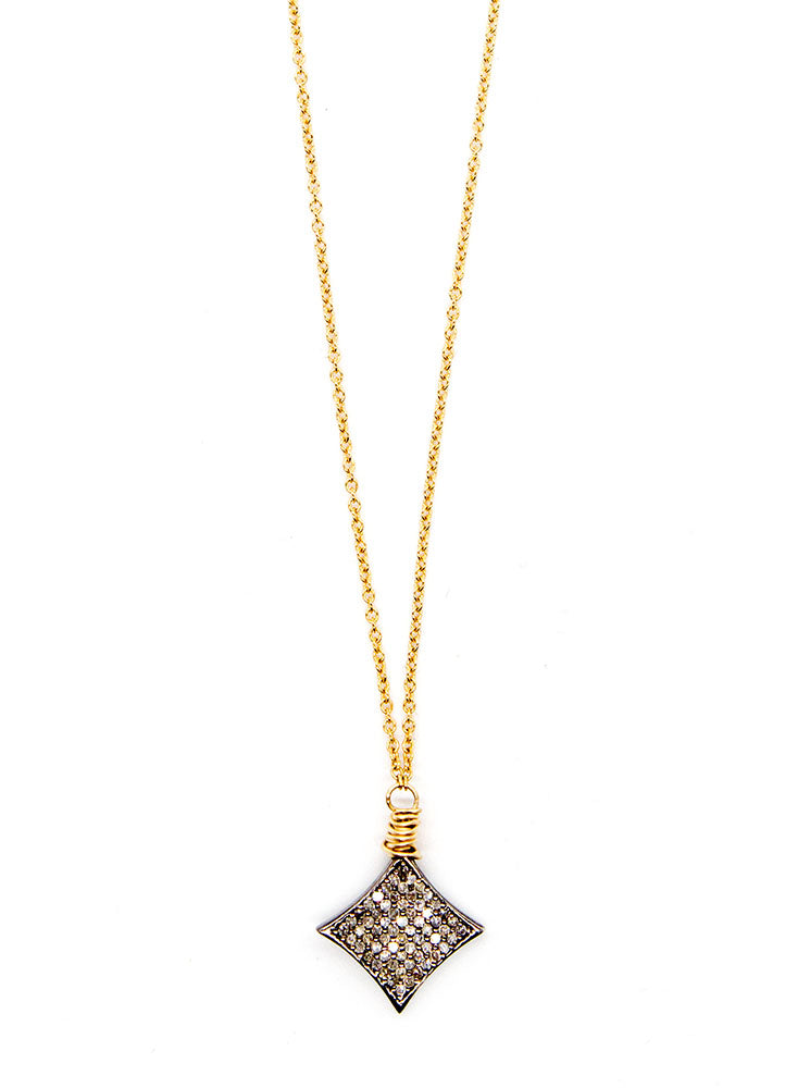 Bloom Pave Diamond Kite Delicate Necklace