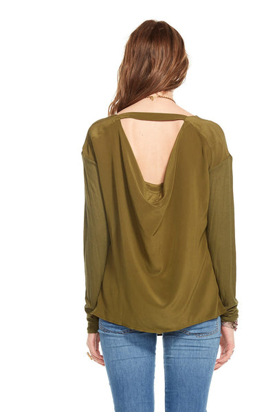 Chaser Drape Front and Back Long Sleeve Silk Top - Estilo Boutique