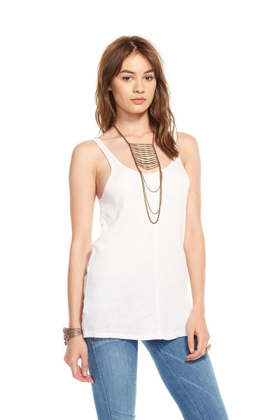 Chaser Double Scoop White Tank - Estilo Boutique