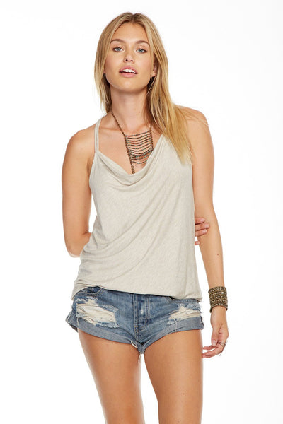 Chaser Cool Jersey Strappy Drape Front Racer Tank