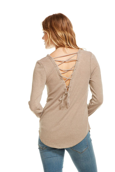 Chaser Vintage Rib Long Sleeve Lace Back Tee
