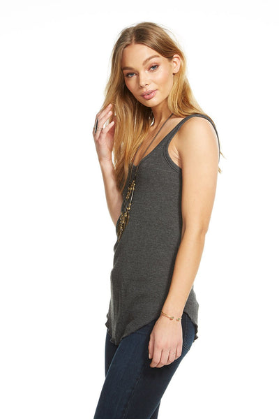 Chaser Triblend Double V Neck Tank in Black