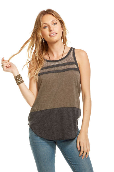 Chaser Blocked Jersey Racerback Tank in Canteen