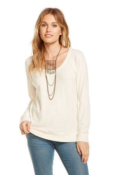 Chaser Love Rib Scoop Neck Pullover In Ivory