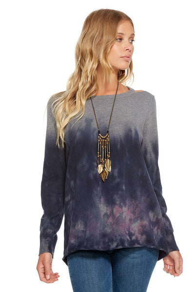 Chaser TIE DYE L/S HI-LO COLD SHOULDER CREW NECK SWEATER
