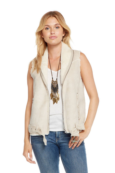 Chaser FAUX SUEDE FUR LINED MOTO VEST In Natural