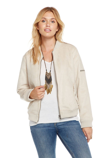 Chaser FAUX SUEDE UTILITY FUR LINED BOMBER JACKET In Natural
