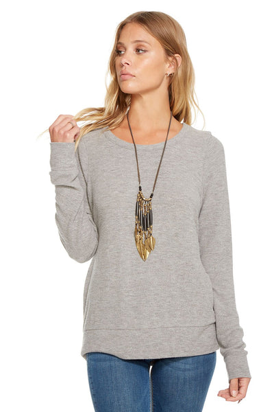 Chaser LOVE KNIT L/S CROSS BACK PULLOVER In Heather Grey