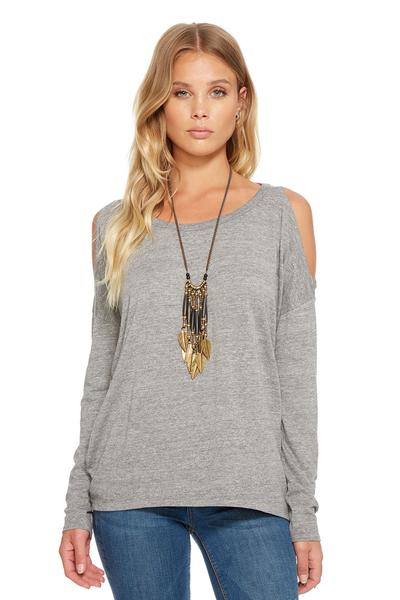 Chaser Cold Shoulder Top In Streaky Grey