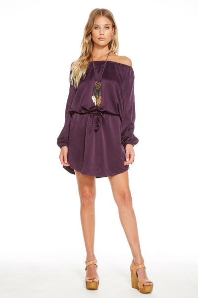 Chaser SILK CHARMEUSE OPEN NECK DRAWSTRING SHIRTTAIL DRESS