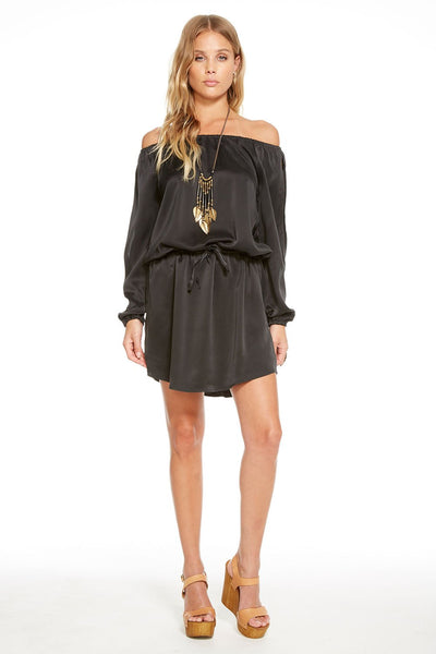 Chaser SILK CHARMEUSE OPEN NECK DRAWSTRING SHIRTTAIL DRESS In True Black
