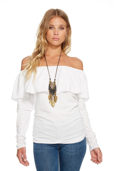 Chaser GAUZY COTTON JERSEY L/S RUFFLE OFF SHOULDER TEE In White