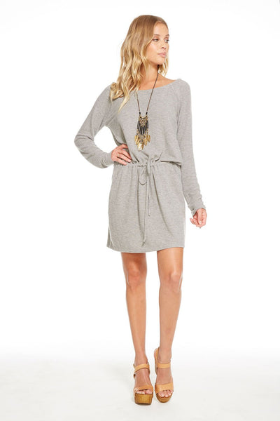 Chaser LOVE KNIT HI-LO STRAPPY BACK DRAWSTRING MINI In Heather Grey