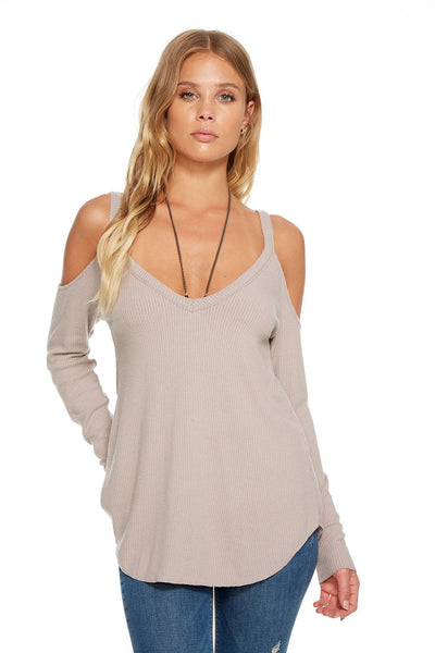 "Chaser LOVE RIB L/S DOUBLE ""V"" COLD SHOULDER SHIRTTAIL TEE In Willow"