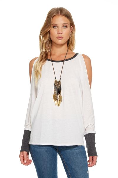 Chaser Cold Shoulder Top In White & Black