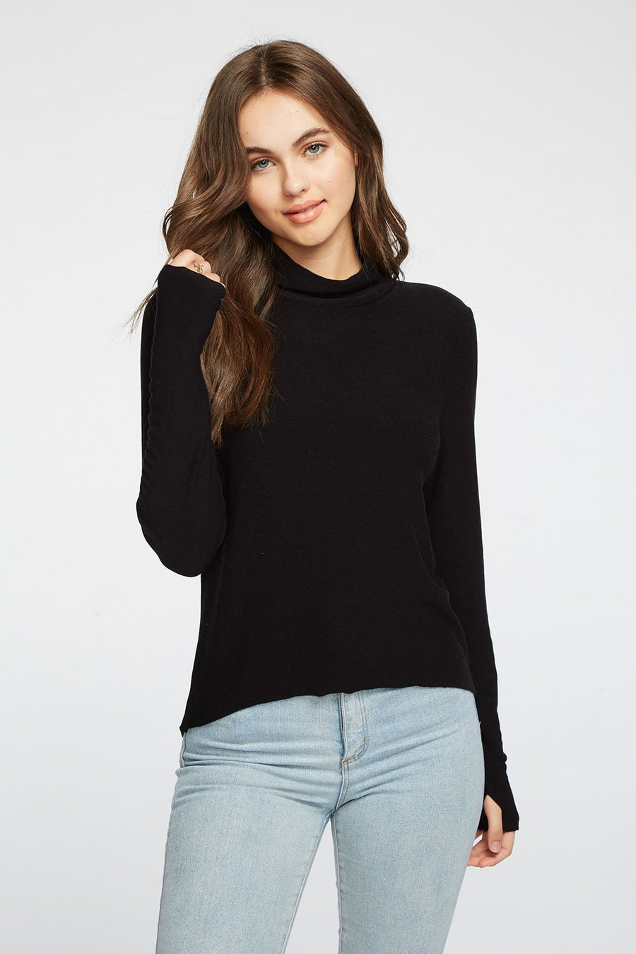 Chaser Cozy Knit Cropped Long Sleeve Top