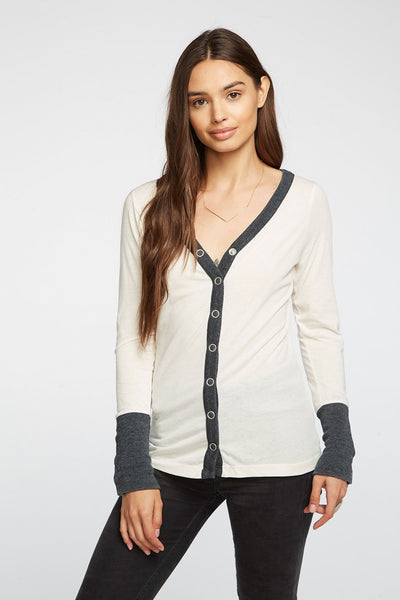 Chaser Blocked Jersey V Neck Top