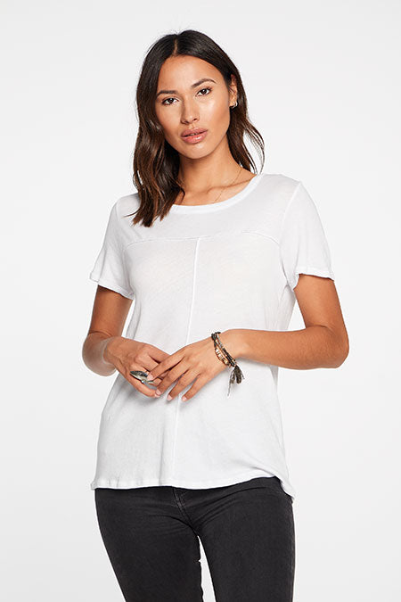 Chaser Cotton Seamed Short Sleeve Top in White