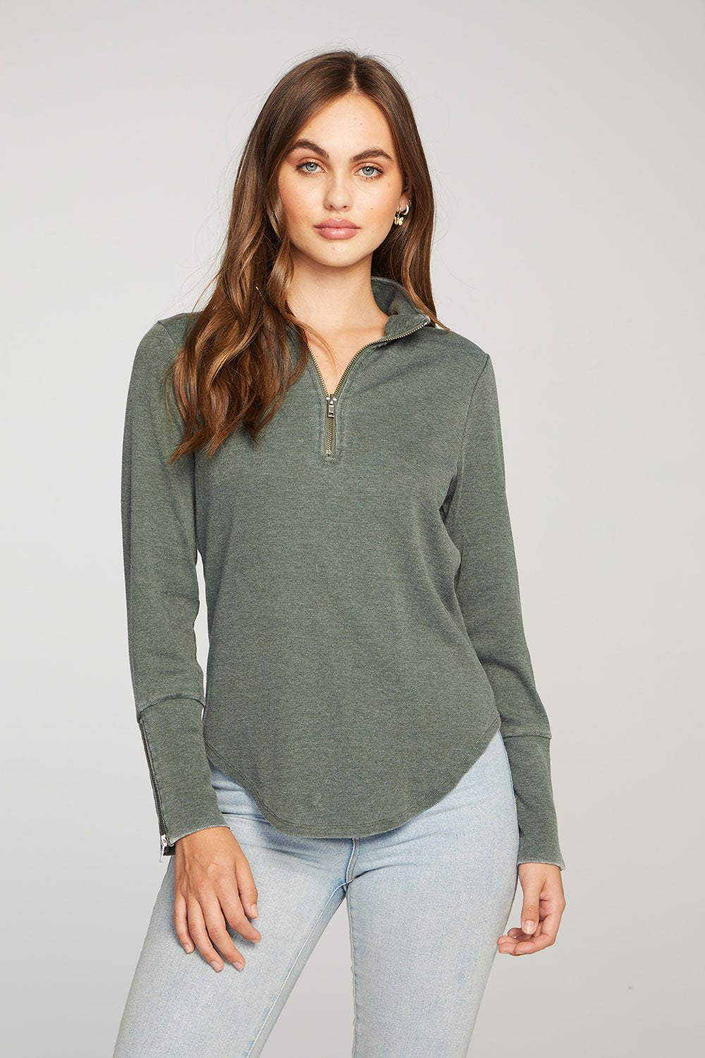 Chaser Ribbed Mock Neck with Zippers