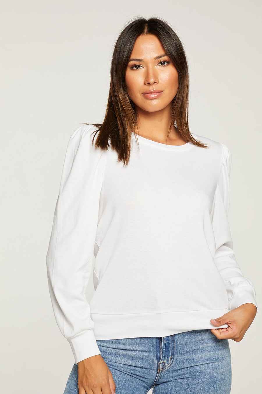 Chaser Baby Rib Puff Sleeve Crew Neck in White