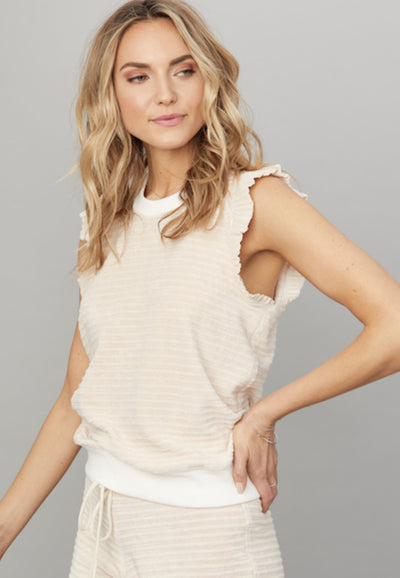 David Lerner Sleeveless Ruffle Striped Top