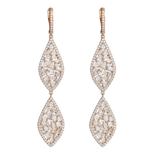 Jen Hansen Double Marquise Earrings In Rose Gold