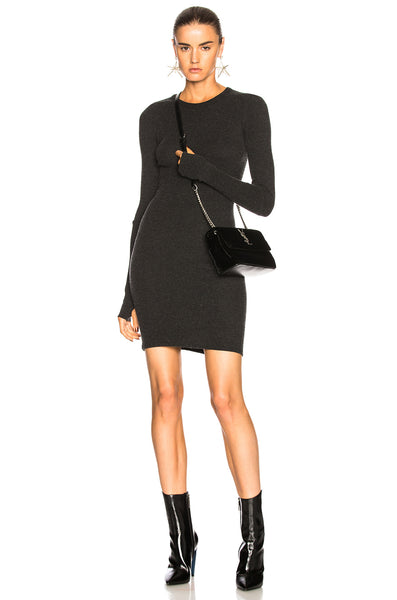 Enza Costa Cashmere Cuffed Mini Dress in Charcoal