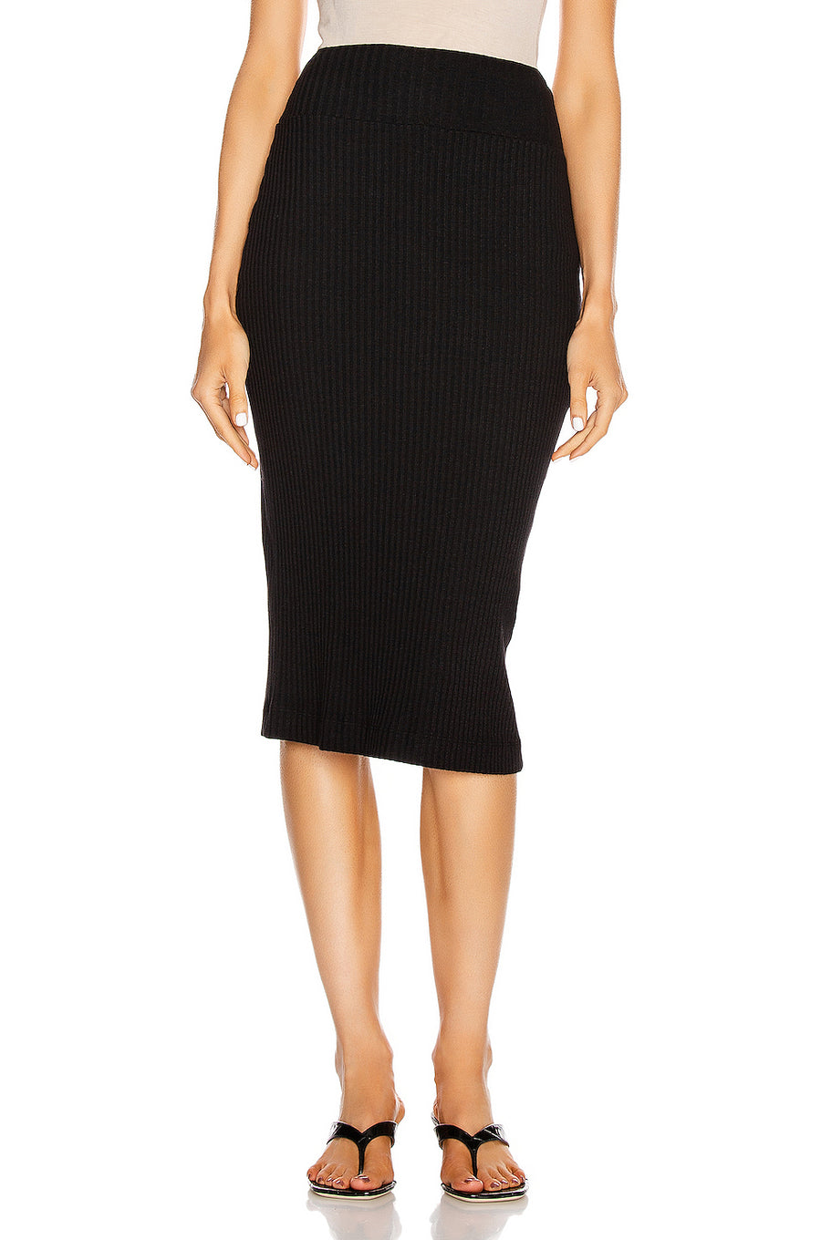 Enza Costa Military Ribbed Pencil Skirt