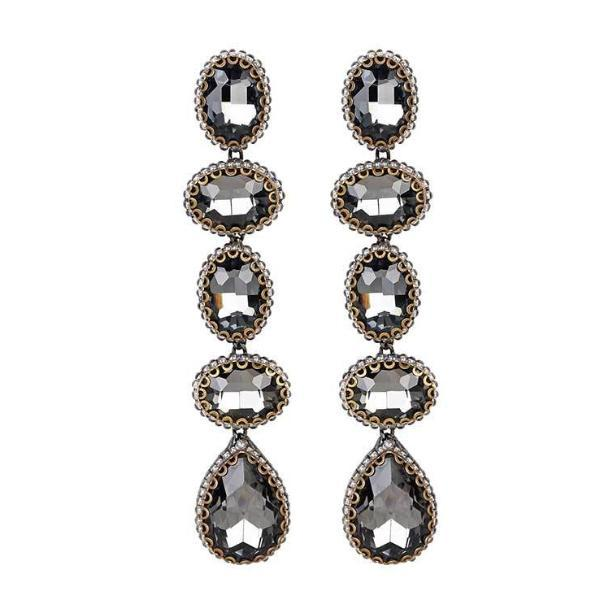 Deepa Gurnani Tyra Earrings in Gunmetal