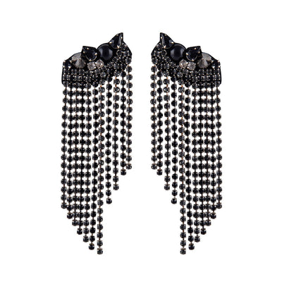 Deepa Gurnani Zadi Earrings in Gunmetal