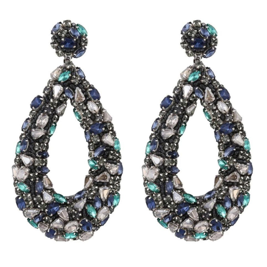 Deepa Gurnani Karen Earrings in Gunmetal and Multi Mix