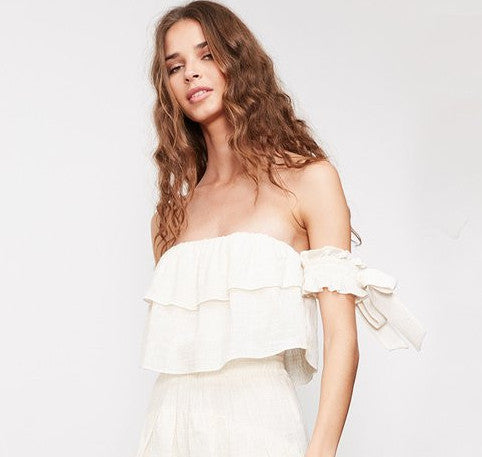 Misa Amaia Off Should Bow Sleeve Top in Cream