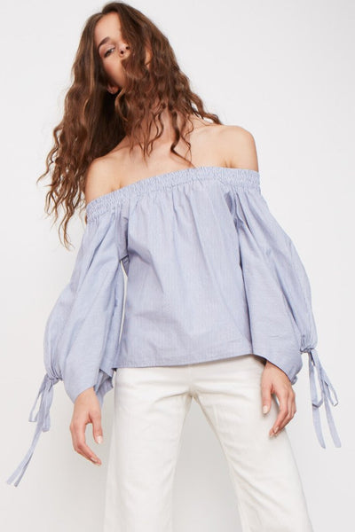 Misa Adeli Off Shoulder Tie Sleeve Top in Blue/White Stripe